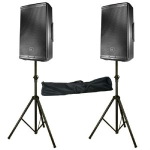 "2 x JBL EON612 2000W Powered Active 12"" PA Speaker + Mixer + Stands 2Yr Warranty"